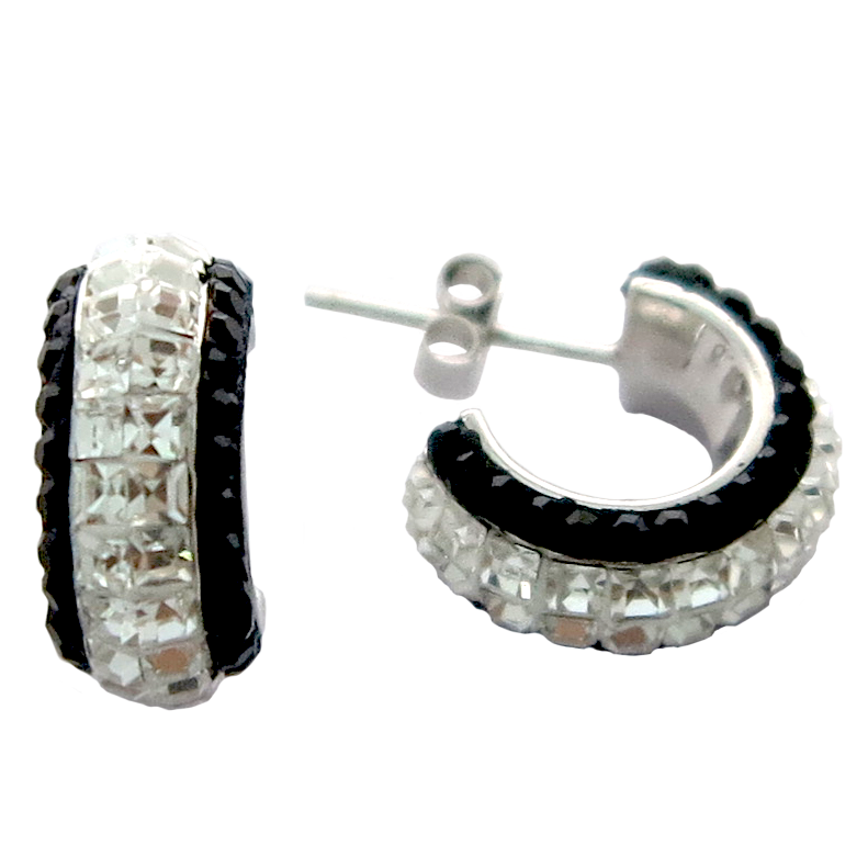 Hoope Earring w/Multi Crystal Sterling Silver Earring