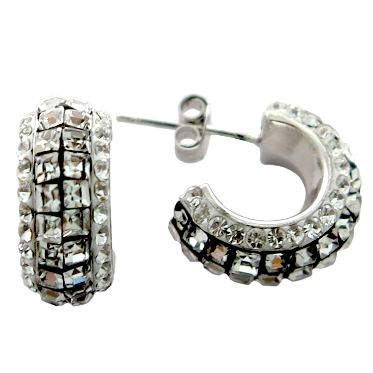 Hoop Silver Earring with Mixed Clear Crystal