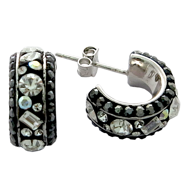 Hoop Silver Earring with Multi Chic Crystal