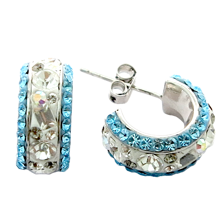 Fancy Multi Crystal Hoop Earring ( White & Blue)