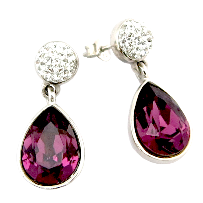 Fancy Swarovski Drop Silver Sterling 925 Earring
