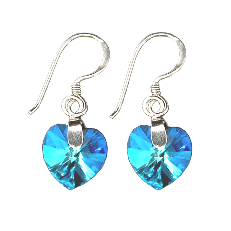 Fancy Swarovski Heart Silver Sterling 925 Earring