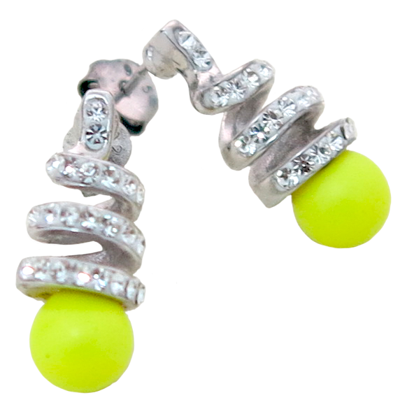 Fancy Crystal & Neon Yellow Pearl Set