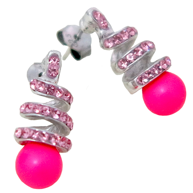 Fancy Crystal & Neon Pink Pearl Set